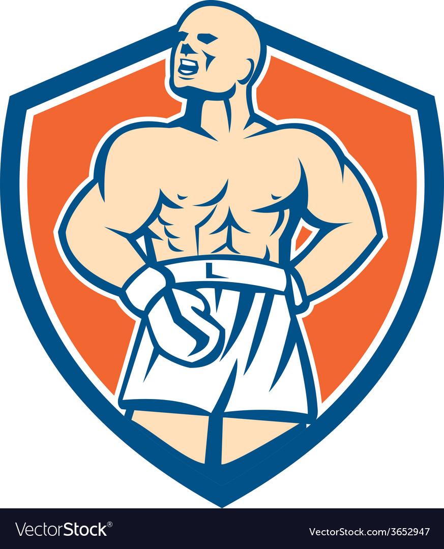 Boxer champion shouting shield retro vector | Price: 1 Credit (USD $1)