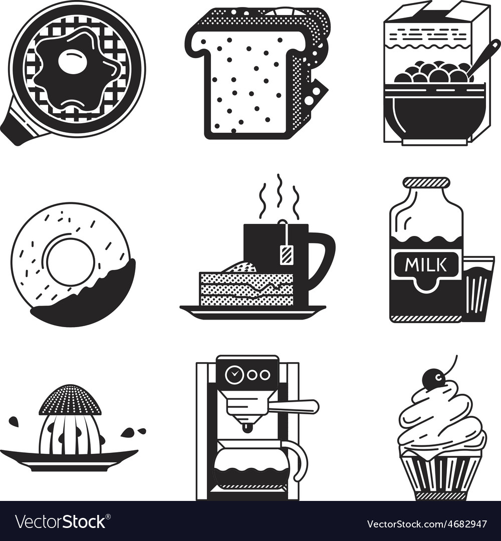Breakfast black icons vector | Price: 1 Credit (USD $1)