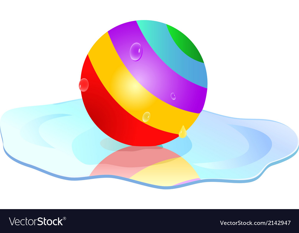 Colorful ball in puddle vector | Price: 1 Credit (USD $1)