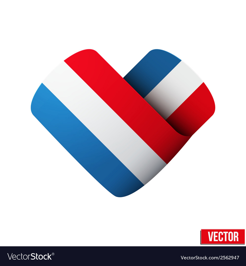 Flag icon in the form of heart i love netherlands vector | Price: 1 Credit (USD $1)