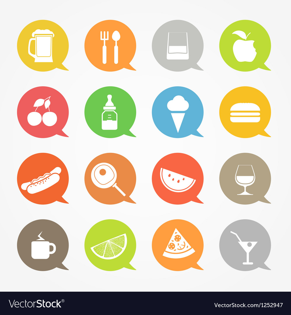 Food web icons set in color speech clouds vector | Price: 1 Credit (USD $1)