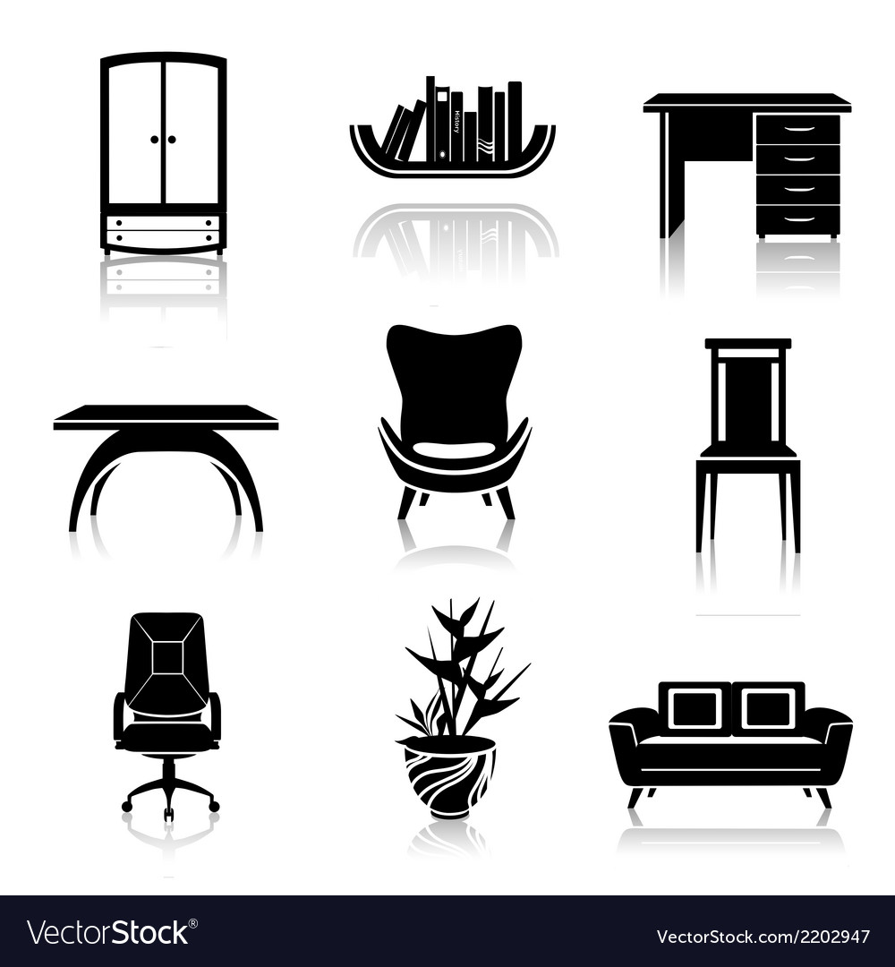 Furniture black icons vector | Price: 1 Credit (USD $1)