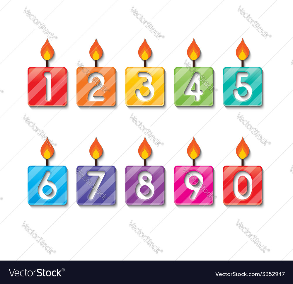 Happy birthday number candles vector | Price: 1 Credit (USD $1)