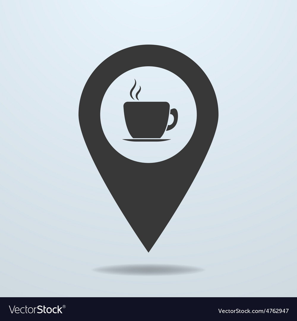 Map pointer with a cup vector | Price: 1 Credit (USD $1)