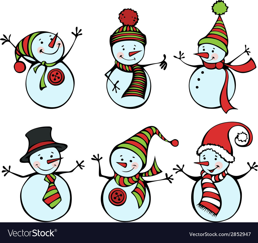 Six snowmen isolated on white background vector | Price: 1 Credit (USD $1)