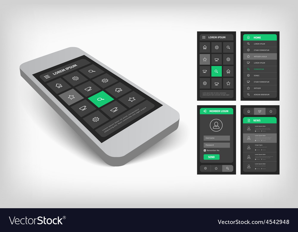 3d visualization of green ui design vector | Price: 1 Credit (USD $1)