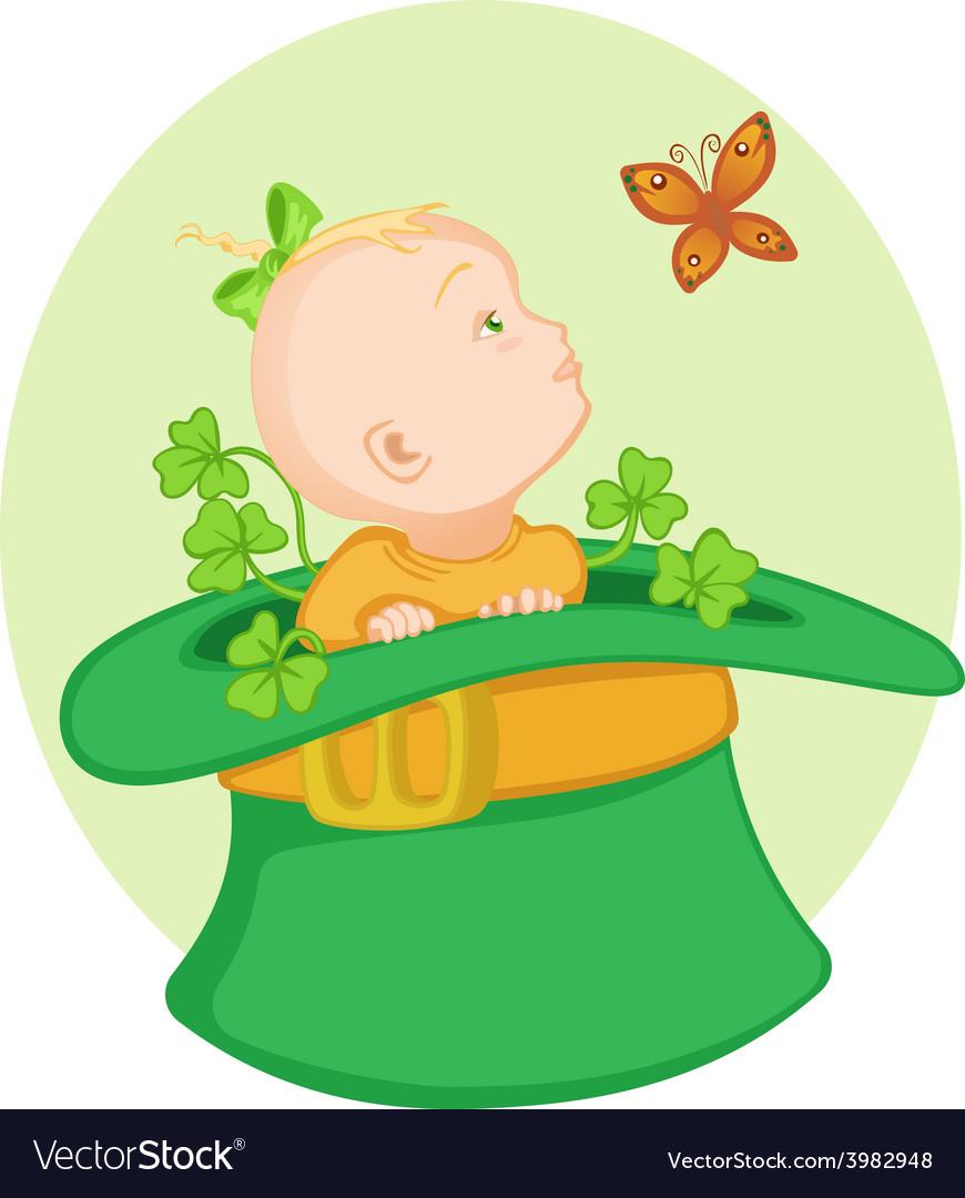 Baby in the irish hat vector   Price: 1 Credit (USD $1)