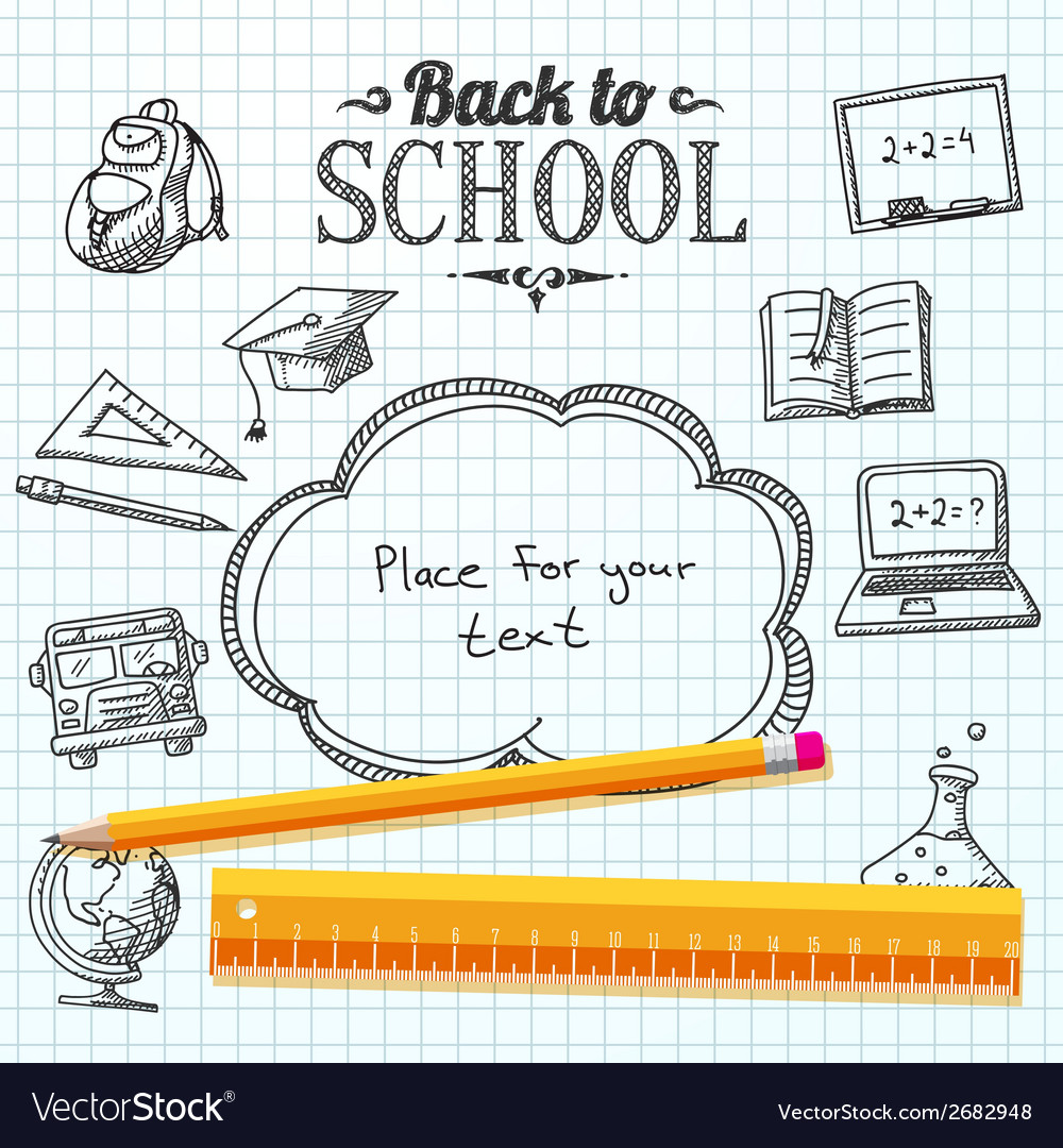 Back to school message on paper with speech bubble vector | Price: 1 Credit (USD $1)