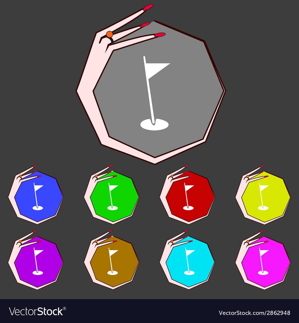 Flag hole sign icon sport symbol set colour vector | Price: 1 Credit (USD $1)