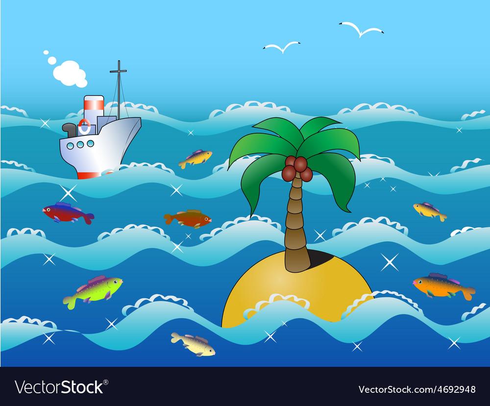 Island in the ocean vector | Price: 1 Credit (USD $1)