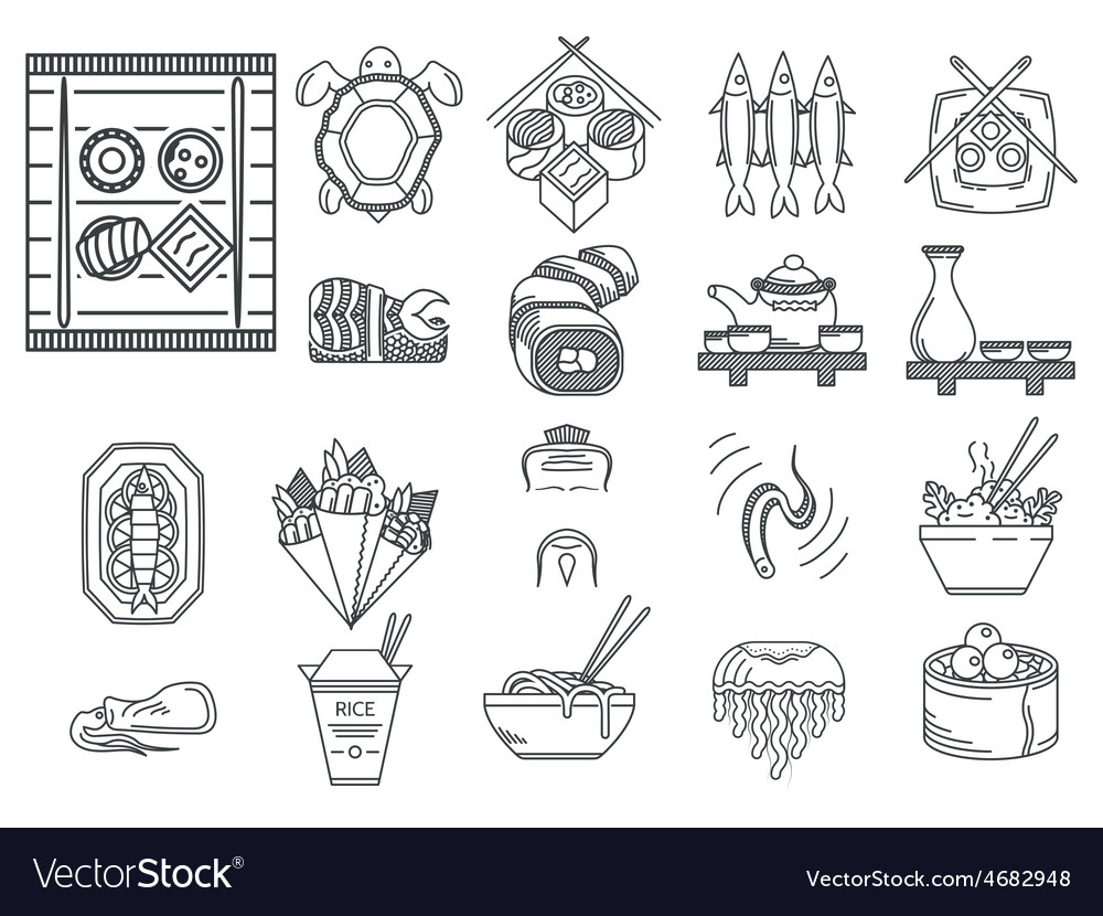 Japanese food black line icons vector | Price: 1 Credit (USD $1)