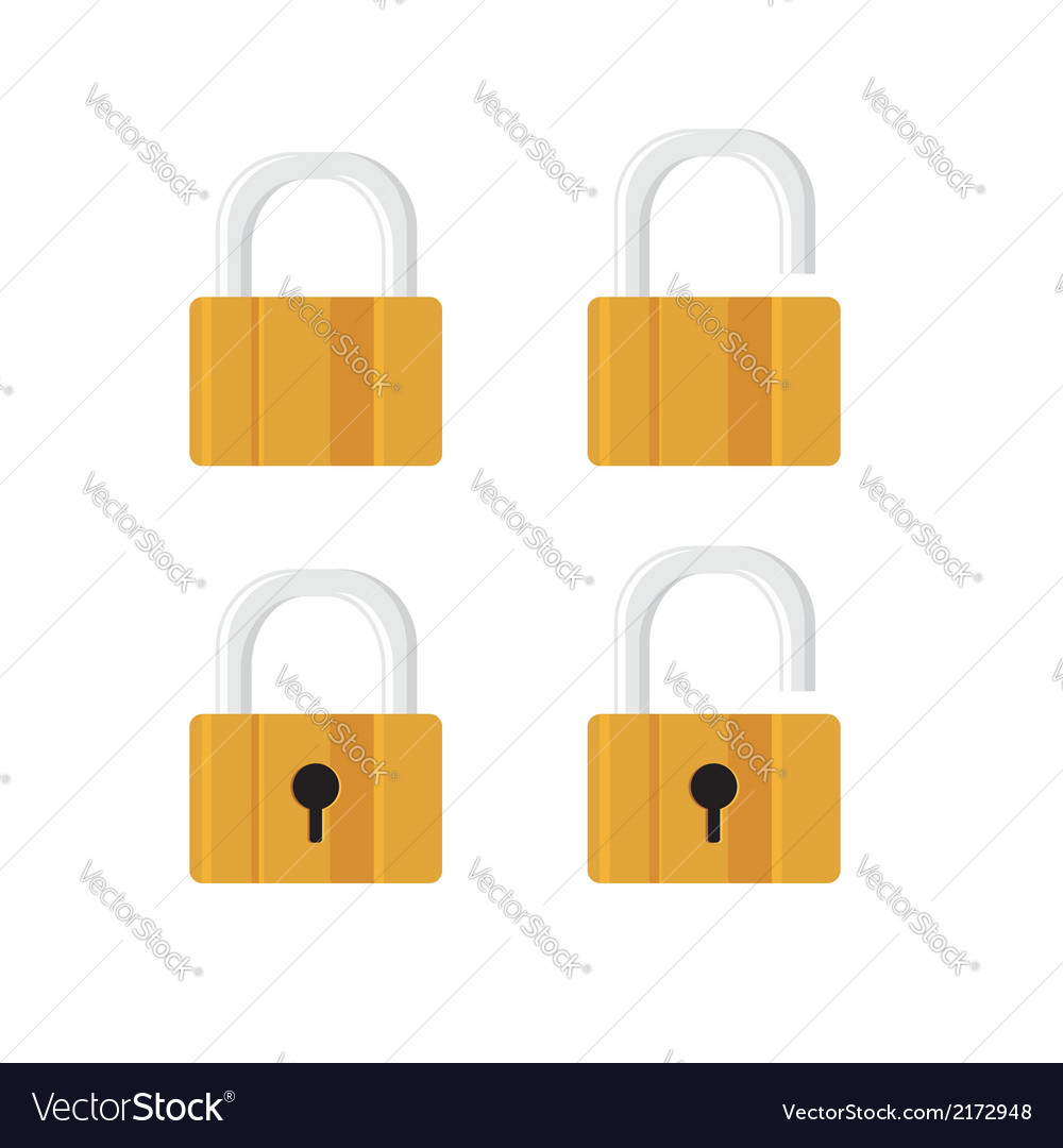 Locks icons on white background vector | Price: 1 Credit (USD $1)