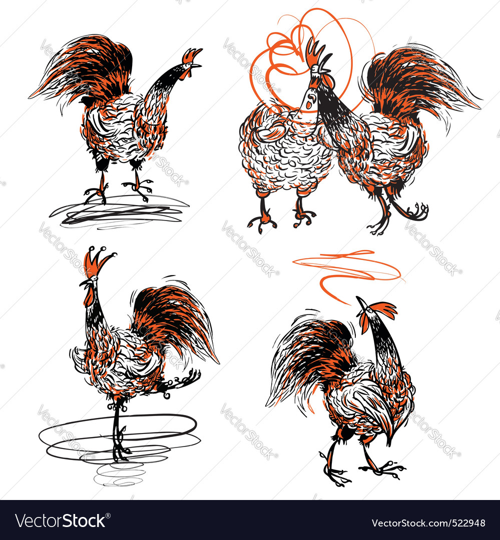 Roosters and a hen vector | Price: 3 Credit (USD $3)