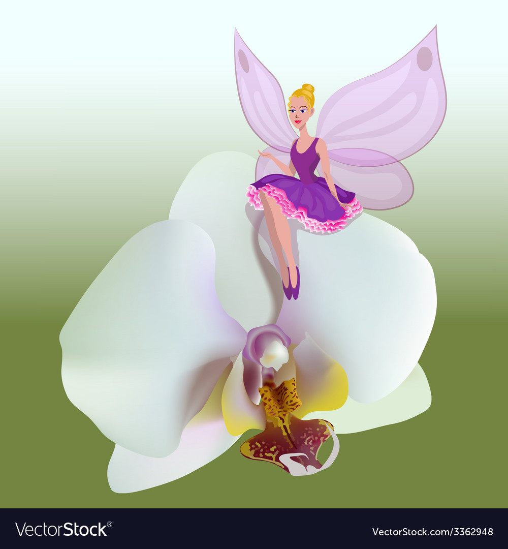 Small fairy sitting on a flower vector | Price: 1 Credit (USD $1)