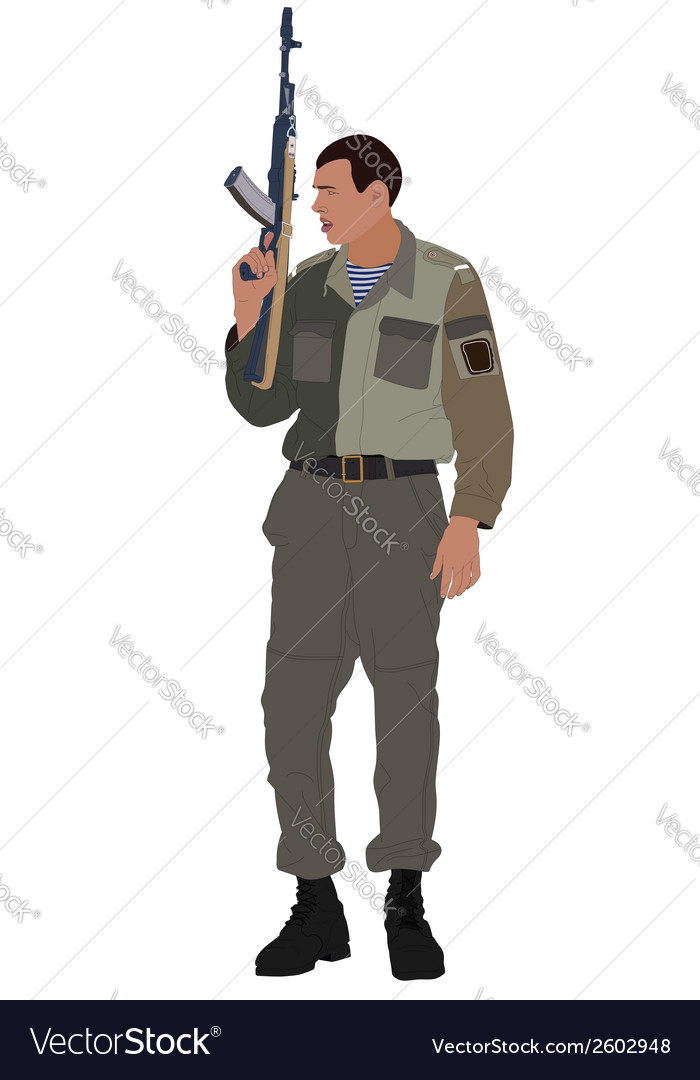 Soldier holding machine gun vector | Price: 1 Credit (USD $1)