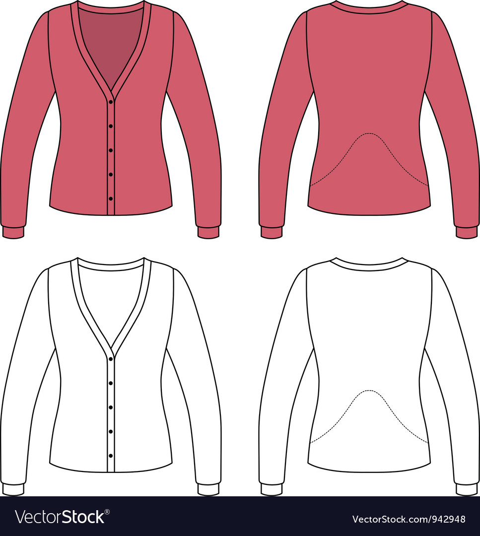 Template outline of a woman jacket vector | Price: 1 Credit (USD $1)