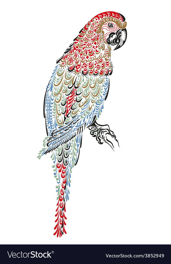 Decorated parrot bird vector | Price: 1 Credit (USD $1)