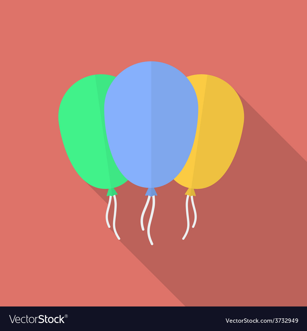 Icon of balloons flat style vector | Price: 1 Credit (USD $1)