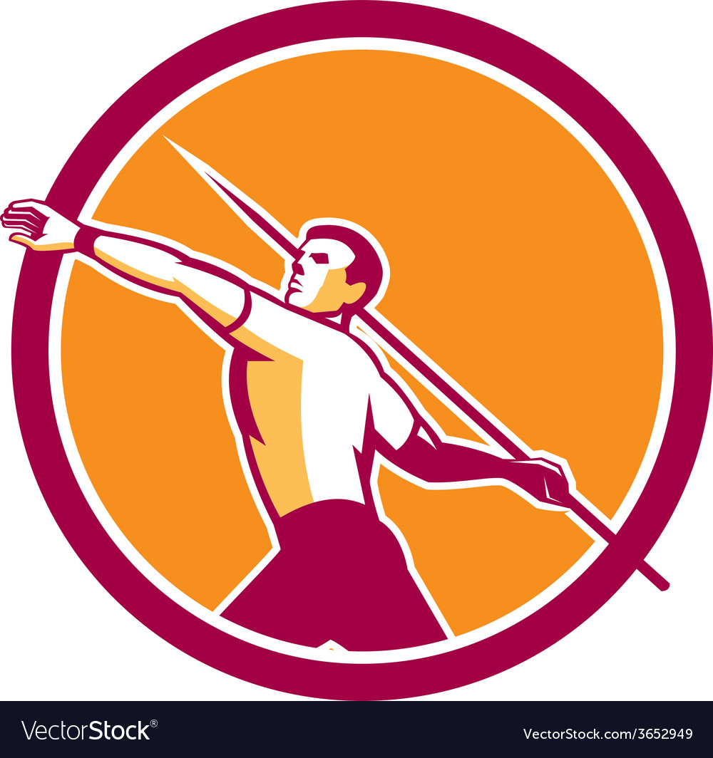Javelin throw track and field athlete circle vector | Price: 1 Credit (USD $1)