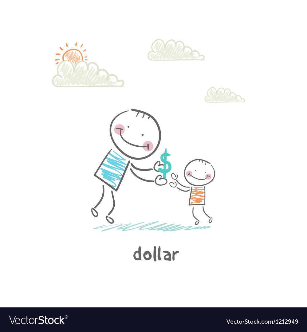 Man giving dollars vector | Price: 1 Credit (USD $1)
