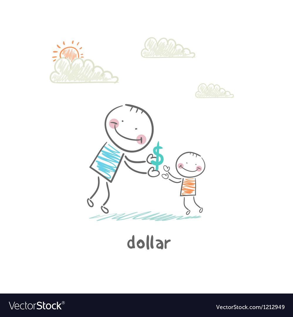 Man giving dollars vector   Price: 1 Credit (USD $1)