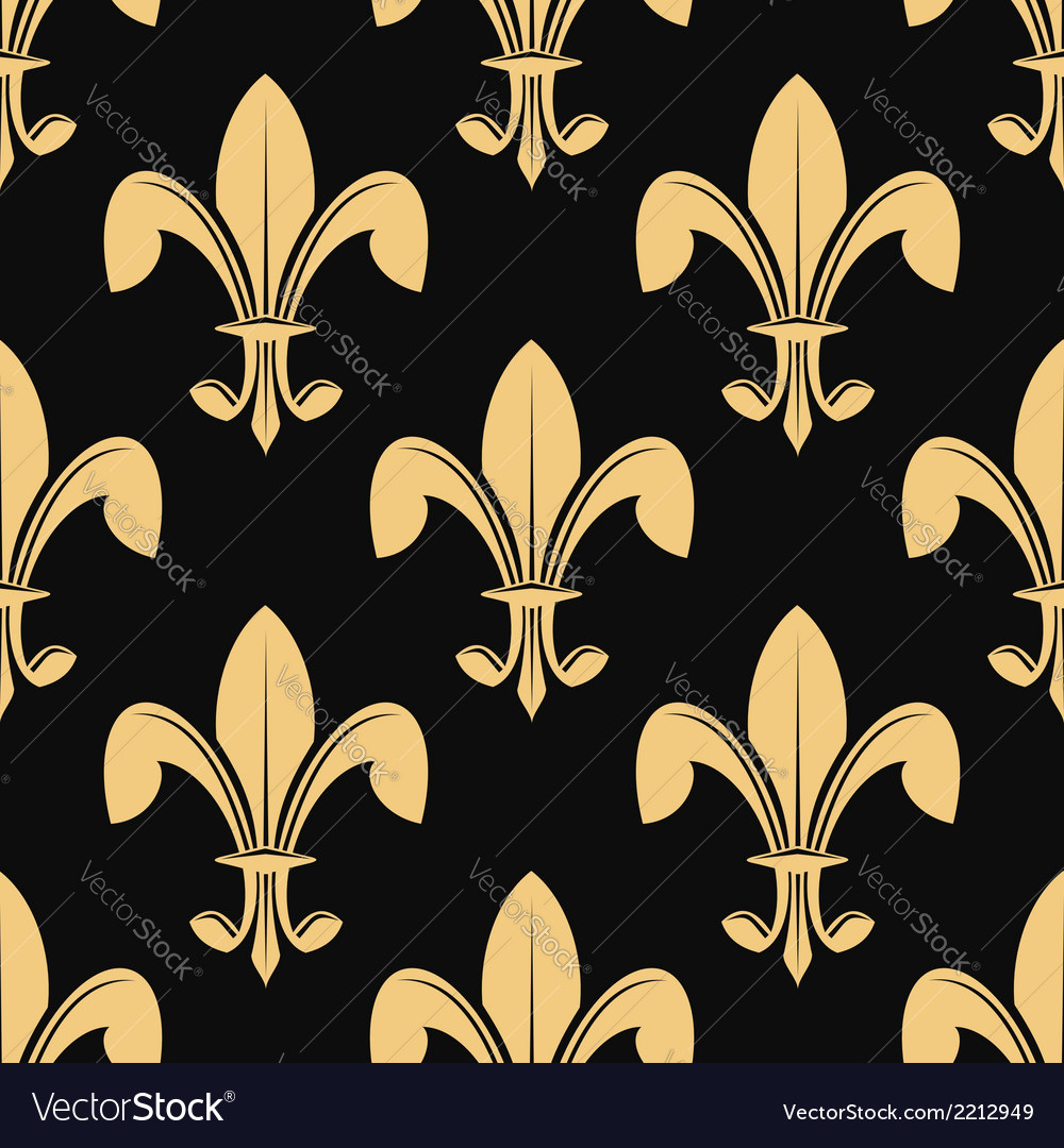 Seamless pattern of classical golden fleur de lys vector | Price: 1 Credit (USD $1)