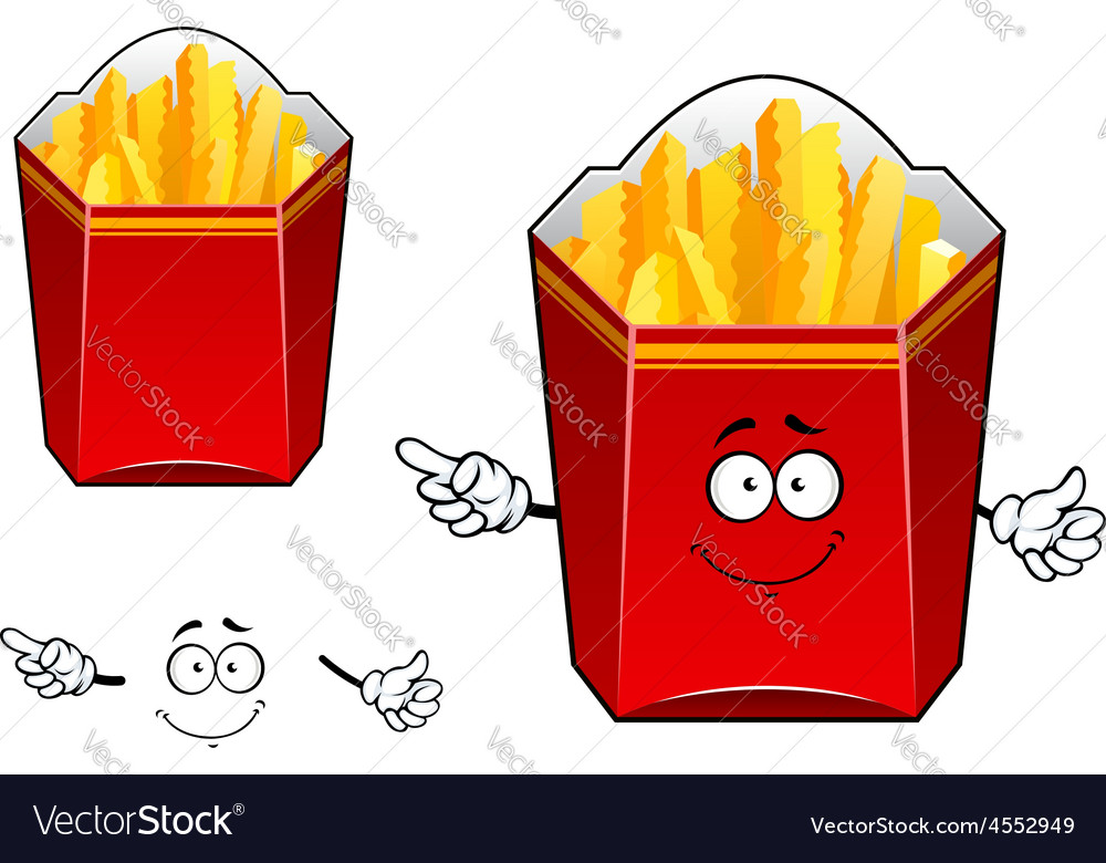 Takeaway cardboard cartons of french fries vector | Price: 1 Credit (USD $1)
