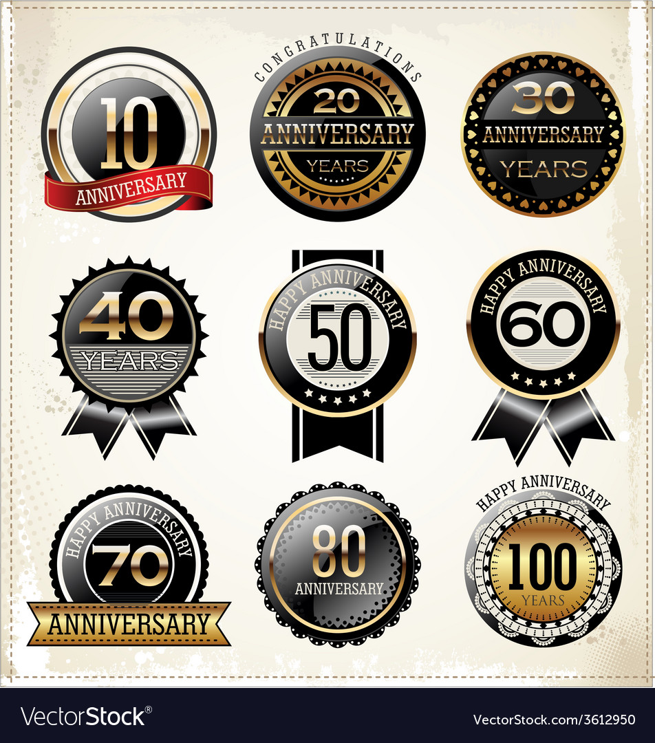 Anniversary labels vector | Price: 1 Credit (USD $1)