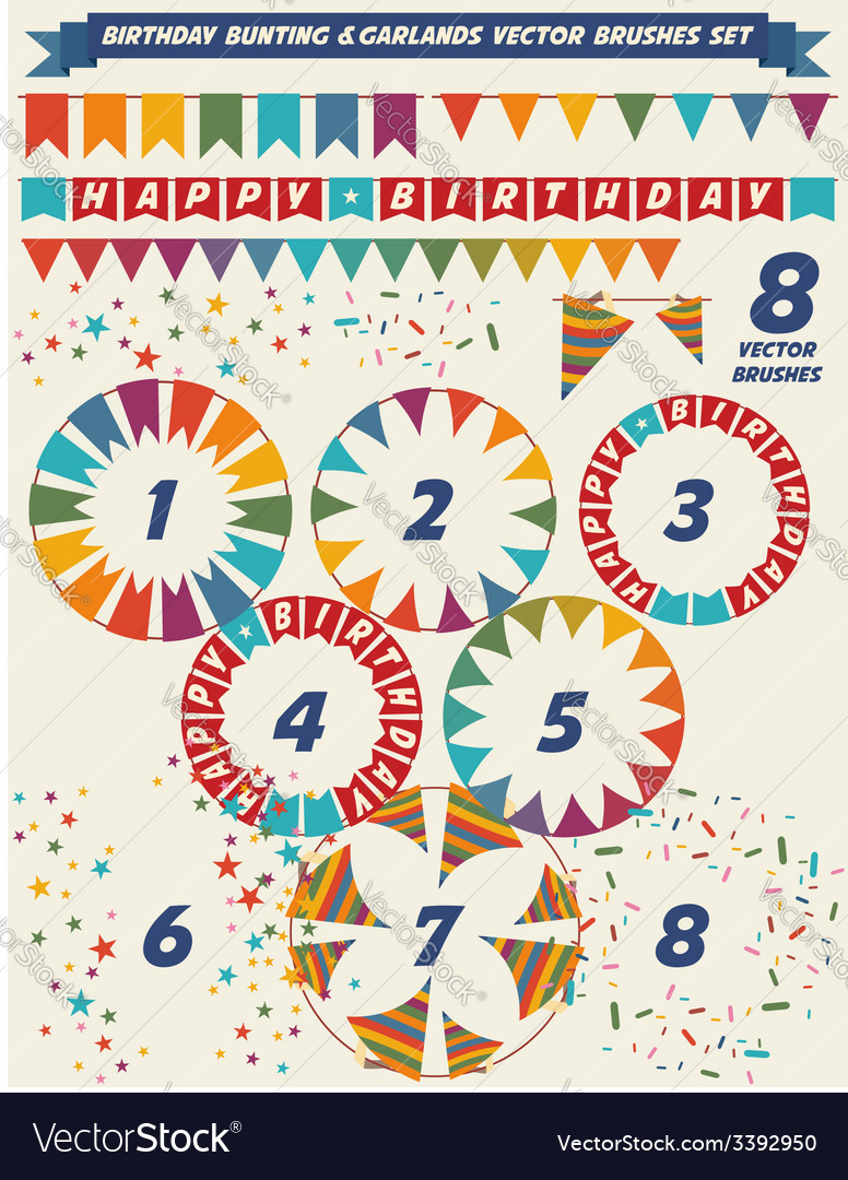 Birthday garlands brushes vector | Price: 1 Credit (USD $1)
