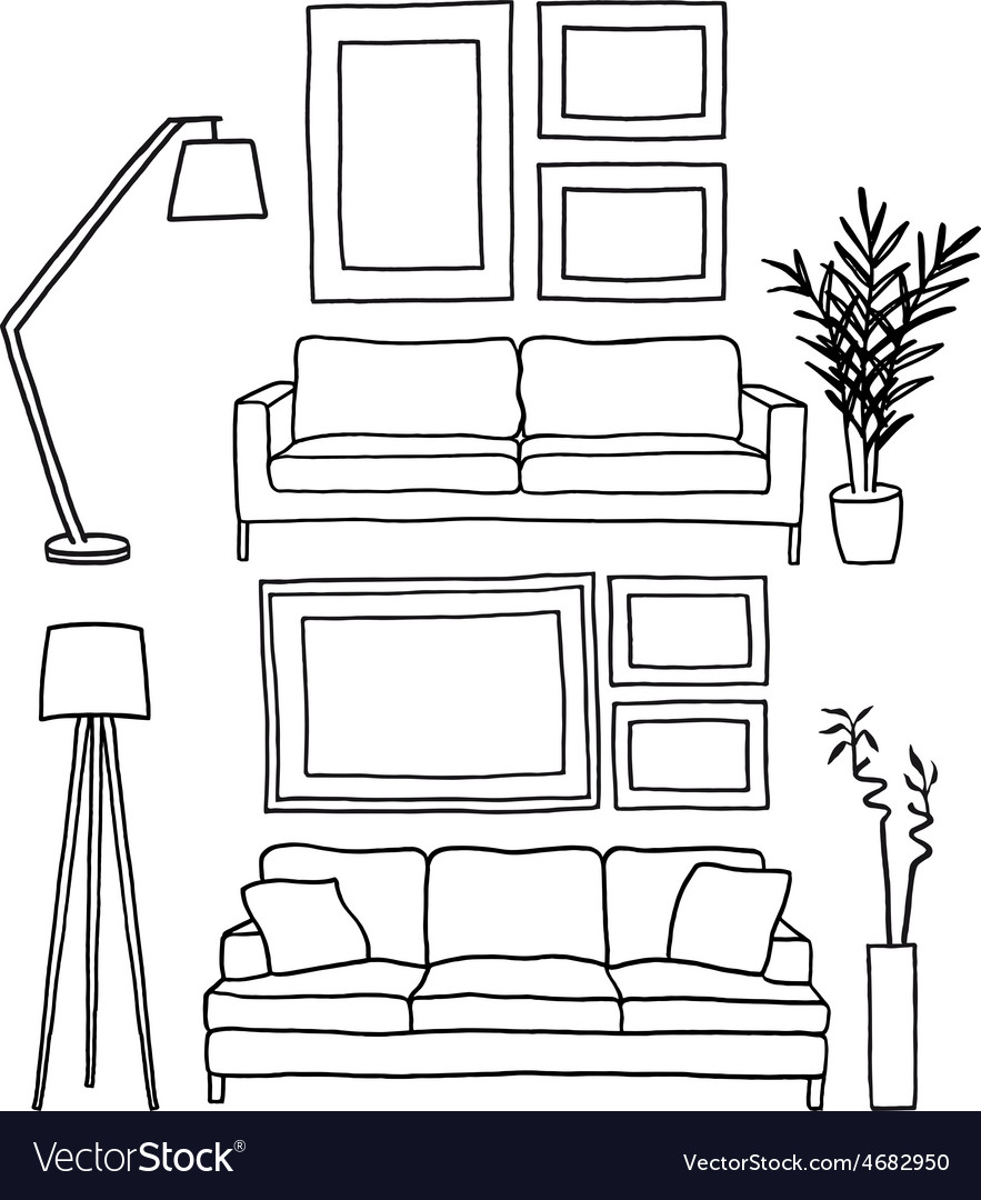 Couch and blank picture frames mockup vector