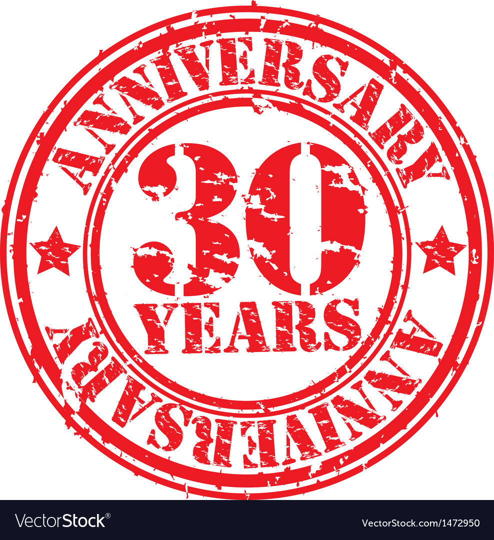 Grunge 30 years anniversary rubber stamp vector