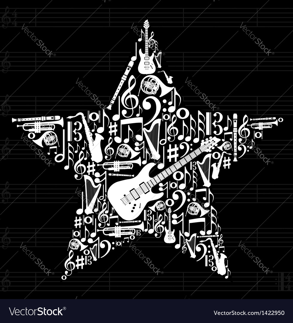 Music star background vector | Price: 1 Credit (USD $1)