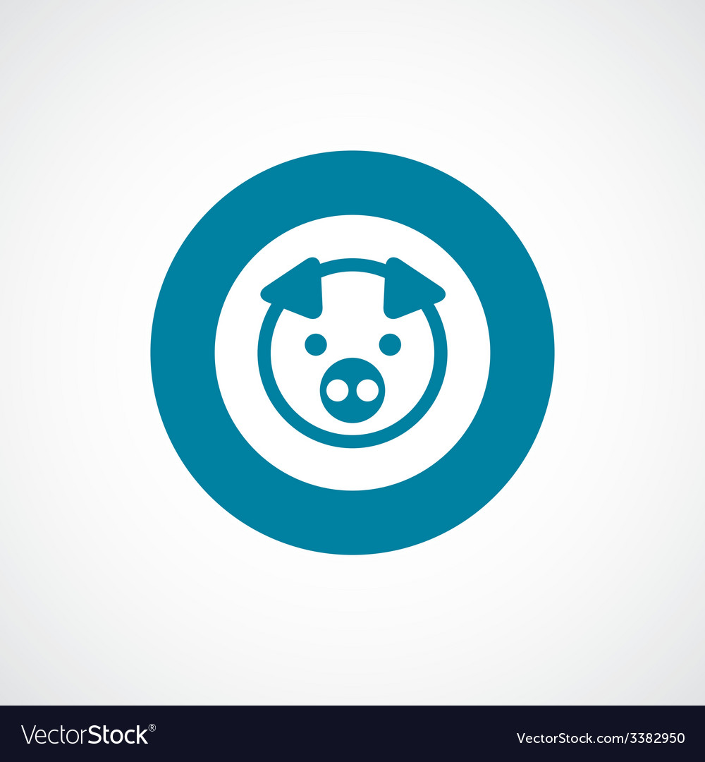 Pig bold blue border circle icon vector | Price: 1 Credit (USD $1)