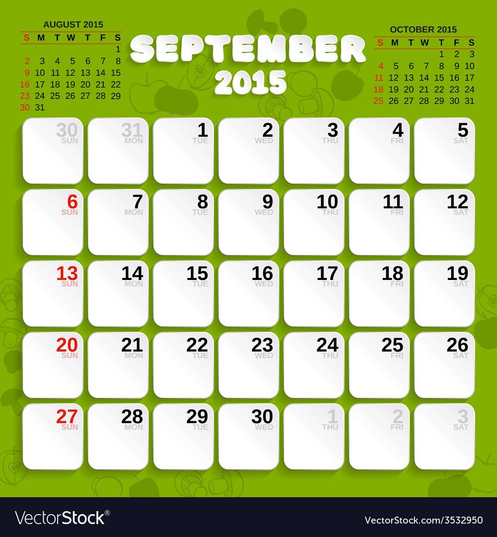 September month calendar 2015 vector | Price: 1 Credit (USD $1)