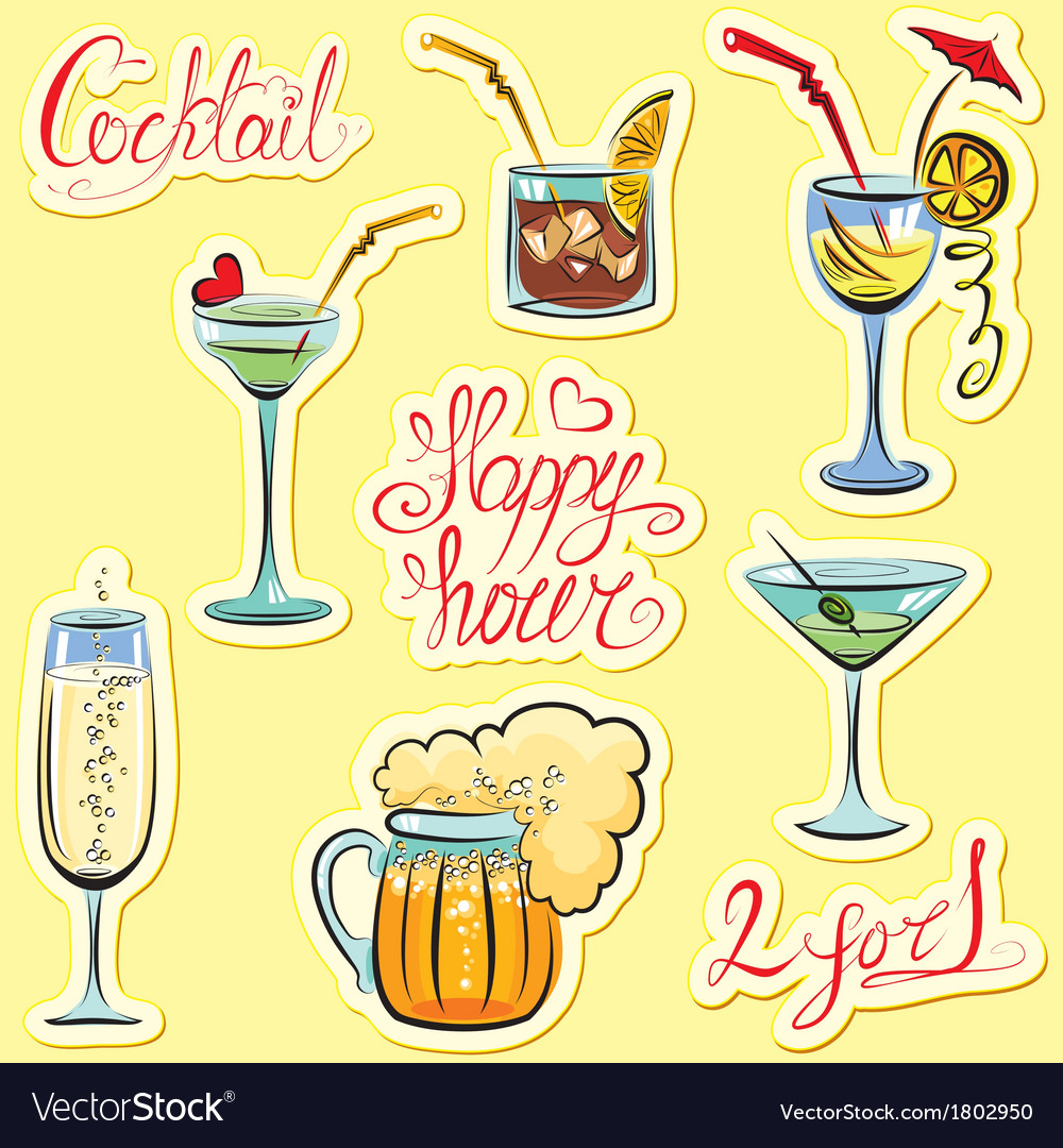 Set of alkohol drinks images and hand written text vector | Price: 1 Credit (USD $1)