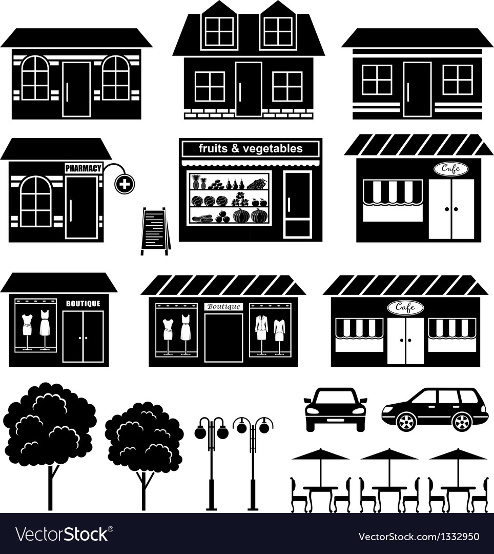 Set of icons of houses and shops vector | Price: 1 Credit (USD $1)
