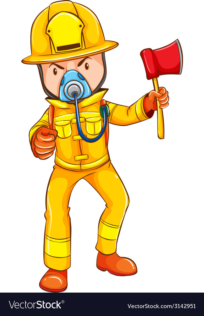 A drawing of a firefighter vector | Price: 1 Credit (USD $1)