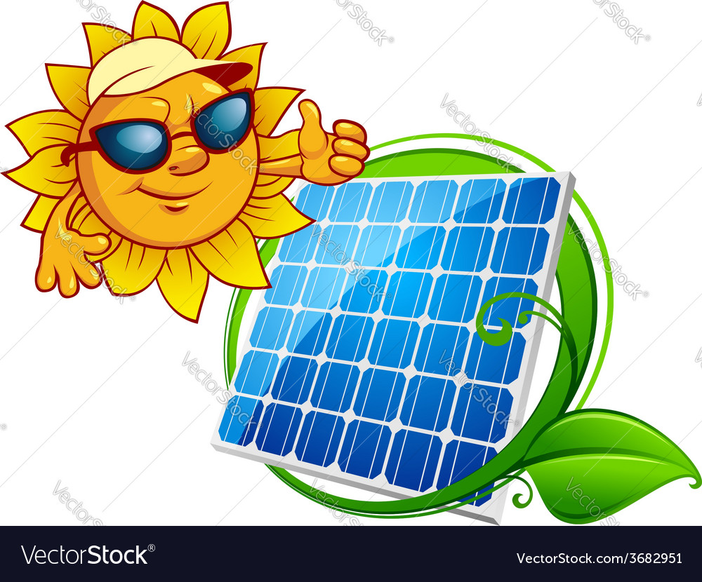 Cartooned cheerful sun with blue solar panel vector | Price: 1 Credit (USD $1)