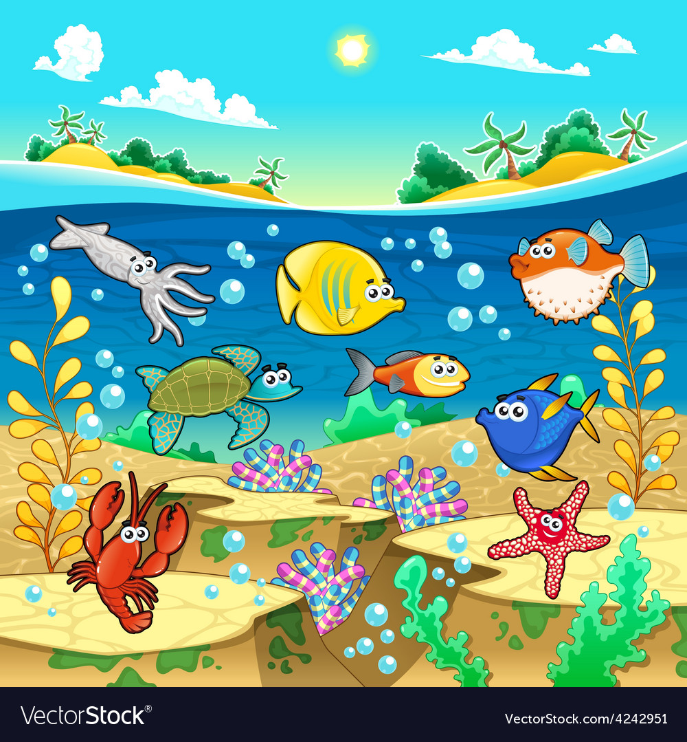 Family of funny fish in the sea vector | Price: 1 Credit (USD $1)