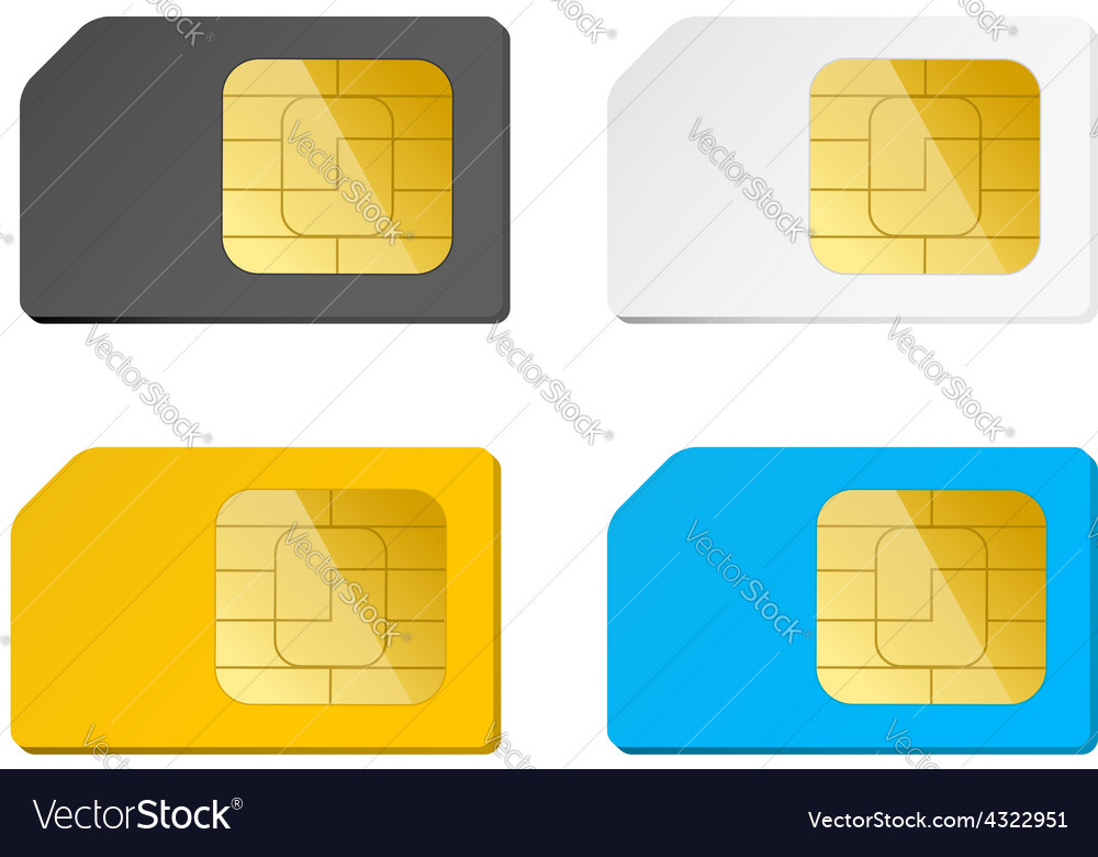 Four sim cards black white blue yellow vector | Price: 1 Credit (USD $1)