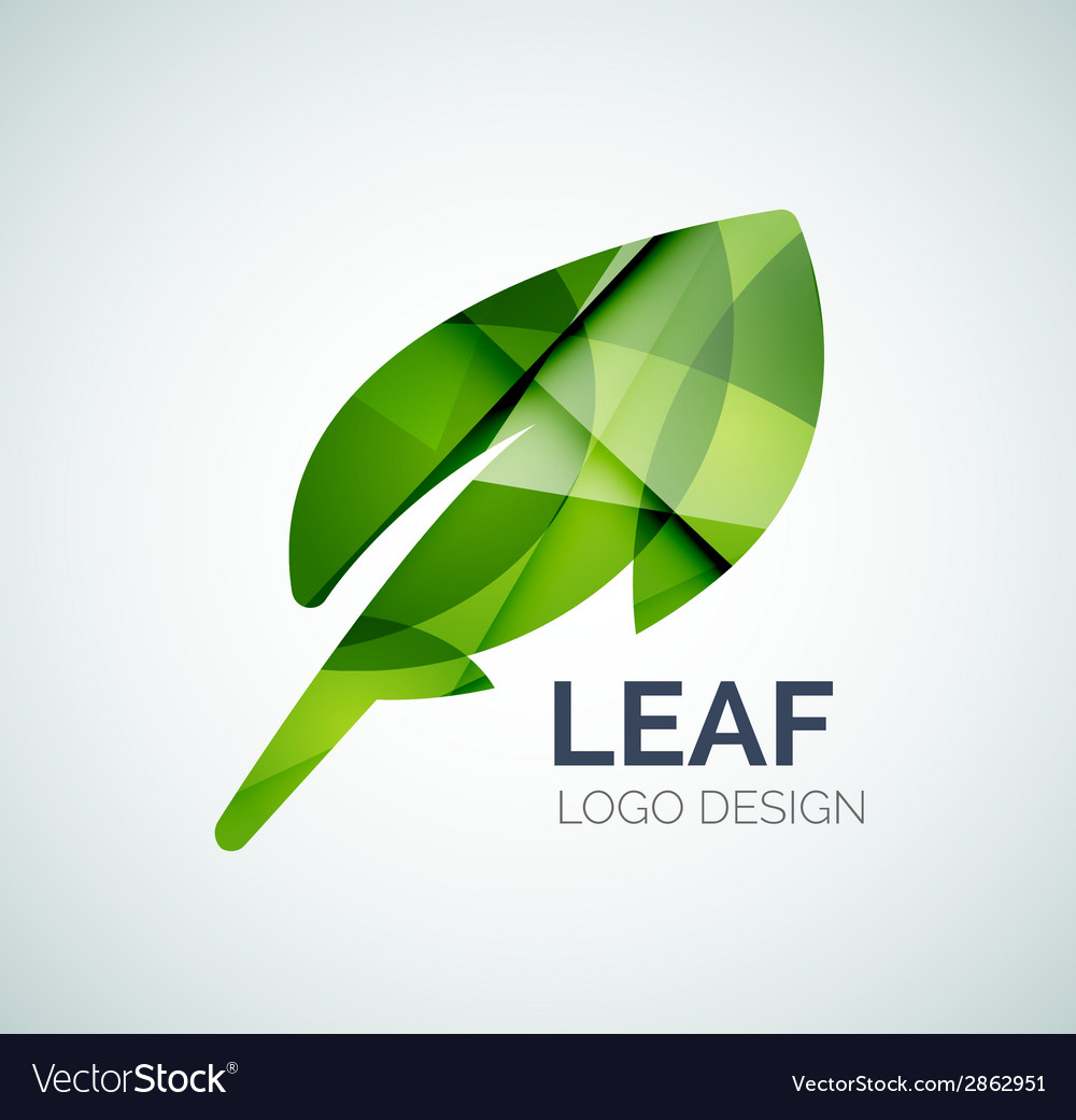 Green eco leaves logo made of color pieces vector | Price: 1 Credit (USD $1)
