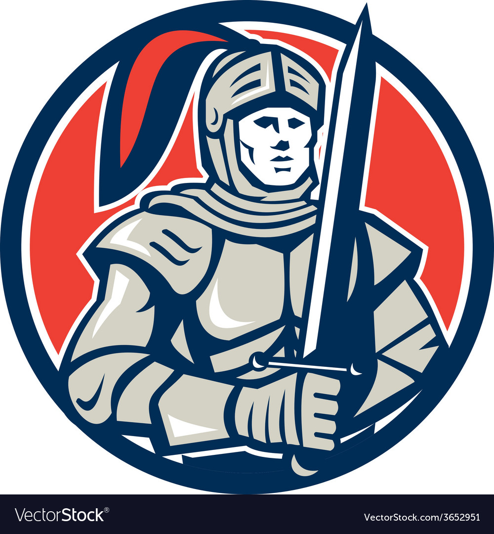 Knight full armor with sword circle retro vector | Price: 1 Credit (USD $1)