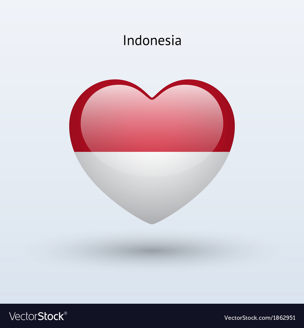 Love indonesia symbol heart flag icon vector | Price: 1 Credit (USD $1)