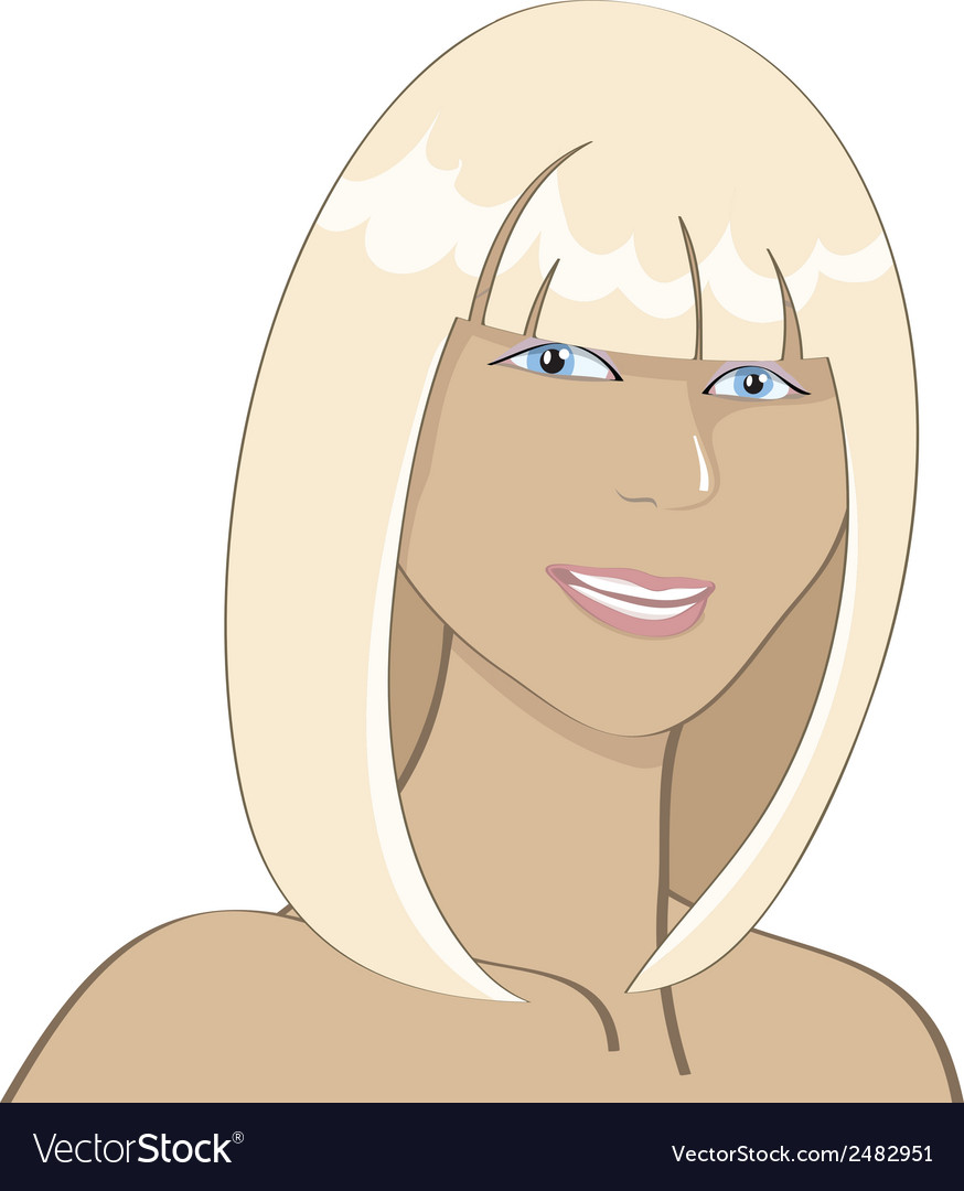 Portrait of a smiling sunburnt blonde girl vector | Price: 1 Credit (USD $1)