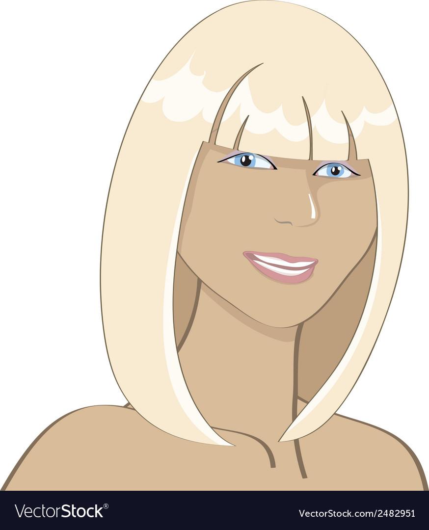 Portrait of a smiling sunburnt blonde girl vector | Price: 1 Credit (USD $1)