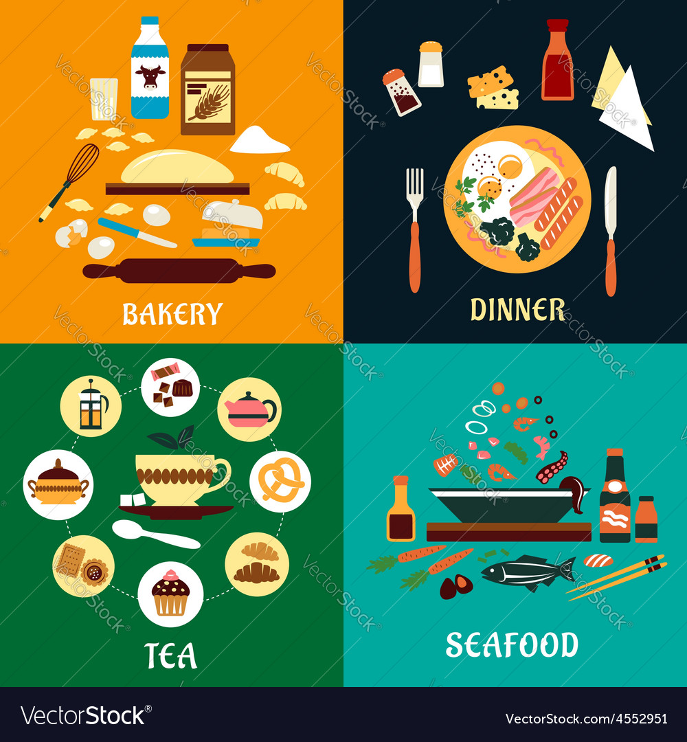Set of flat food infographics vector