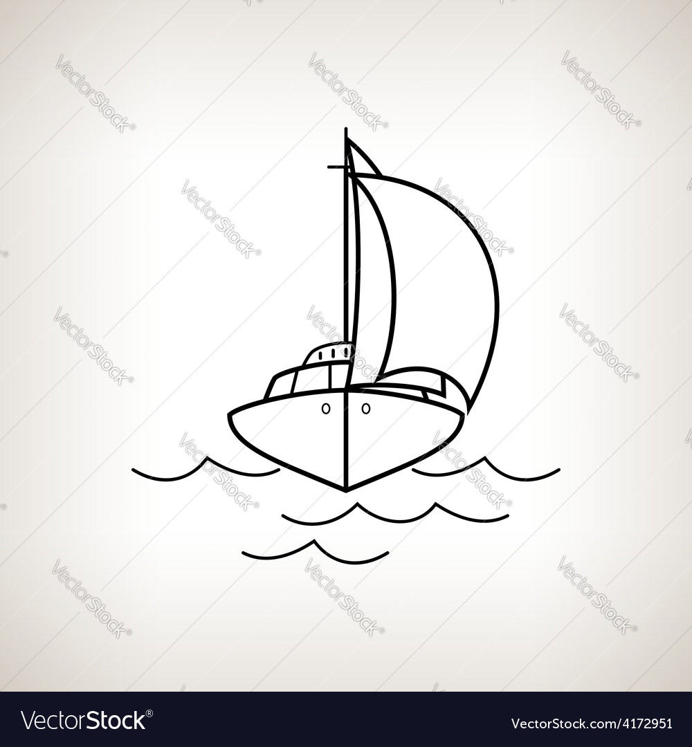 Silhouette yacht on a light background vector | Price: 1 Credit (USD $1)