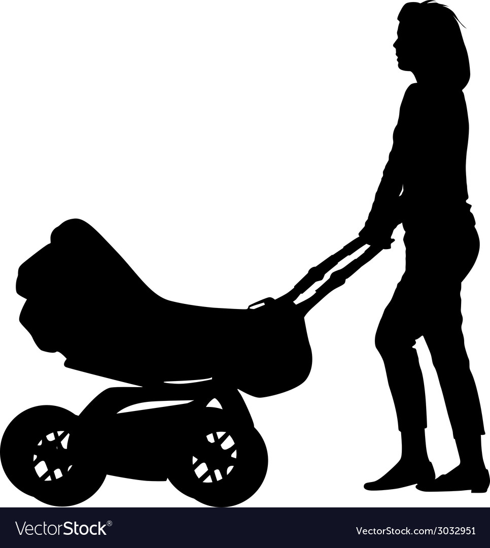 Silhouettes walkings mothers with baby strollers vector | Price: 1 Credit (USD $1)
