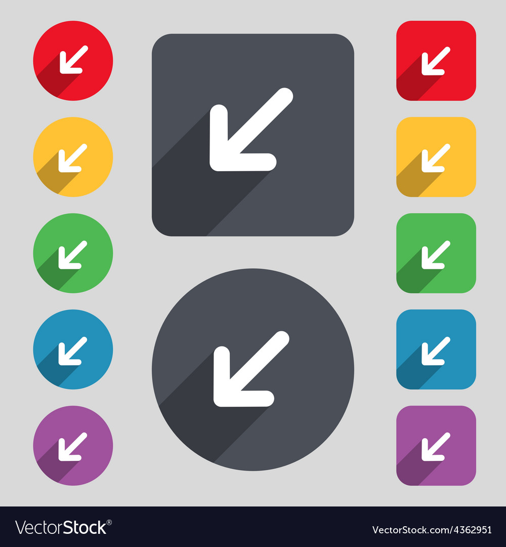 Turn to full screenicon sign a set of 12 colored vector | Price: 1 Credit (USD $1)