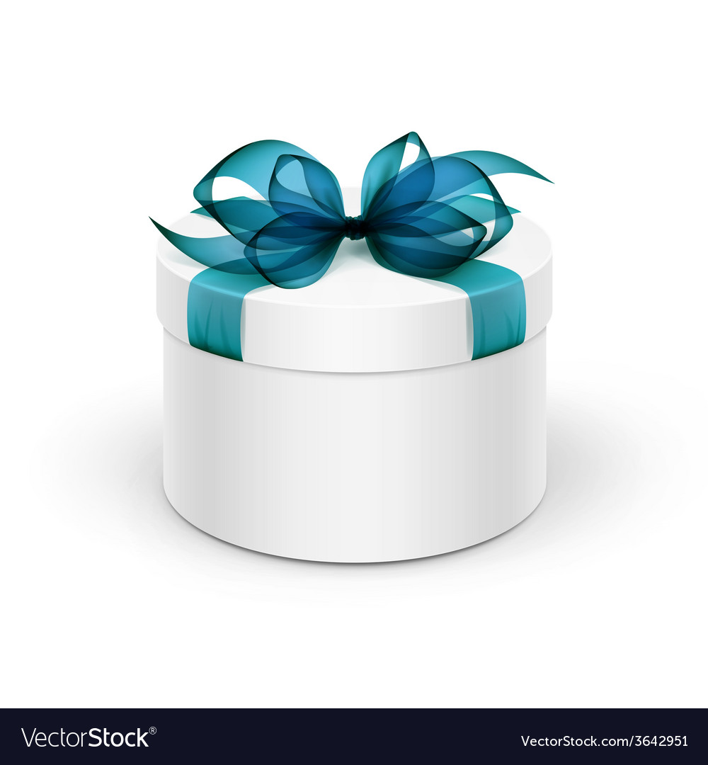 White round gift box with blue ribbon and bow vector | Price: 1 Credit (USD $1)